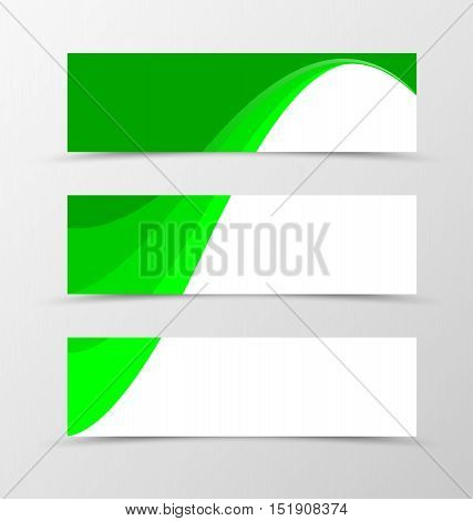 Set of banner spectrum design. Banner for header in green colors. Design of banner in wavy style. Vector illustration