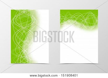 Flyer template design with halftone effect. Abstract flyer template in green color with curly lines . Wavy flyer design. Vector illustration