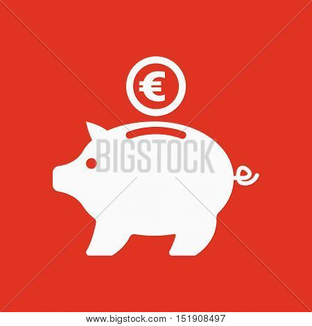 The moneybox and euro icon. Cash and money, wealth, savings symbol. Flat Vector illustration