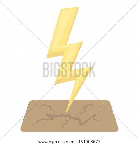 Lightning bolt icon in cartoon style isolated on white background. Weather symbol vector illustration.