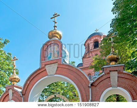 Narva. Estonia. Icon on the gate of the Cathedral of the Resurrection of Christ. Estonian Orthodox Church of Moscow Patriarchate