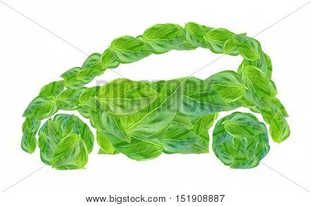 Car silhouette made of green leaves on white background. Eco vehicle concept.