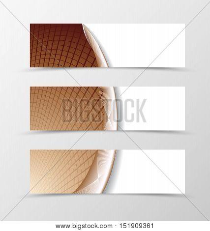 Set of banner grid design. Brown banner for header with silver lines. Design of banner in net style. Vector illustration