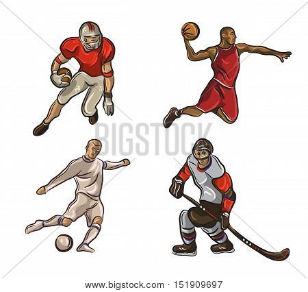 Football player, basketball player, hokeist, American football player isolated on a white background. Vector illustration EPS10