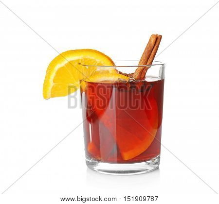 Glass of delicious Christmas mulled wine on white background