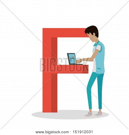 F letter and boy watching movie on laptop isolated. Social network. Alphabet with cartoon pictures of people using modern computer technologies for communication. Flat design. ABC vector