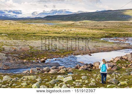 Woman looking at the Hardangervidda National Park landscape