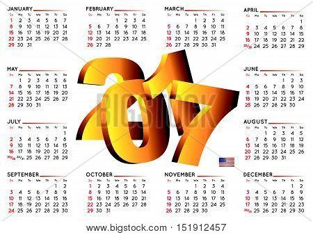 2017 Calendar English Horizontal White