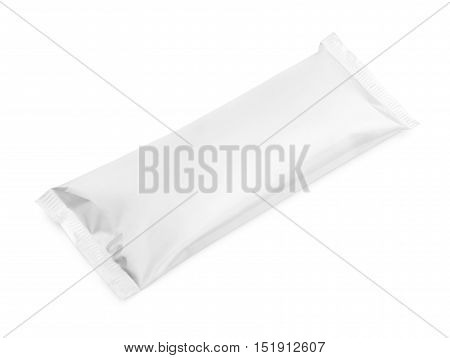 Blank Plastic Pouch Snack Packaging Isolated On White