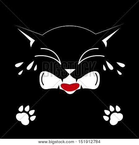 Black cat on a black background. Crying