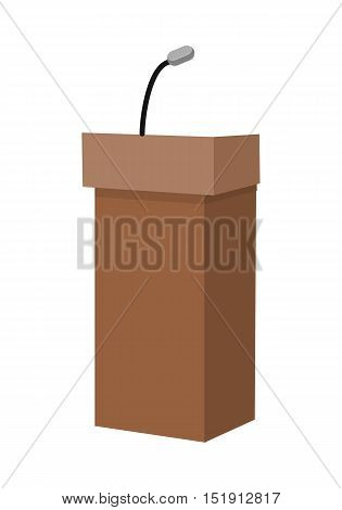 Speaking tribune icon. Wooden podium, tribune, rostrum, stand with microphones in flat. Podium icon. Rostrum icon. Isolated vector illustration on white background.