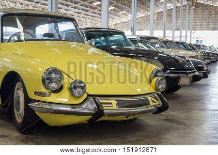 retro and classic car in big garage in thailand