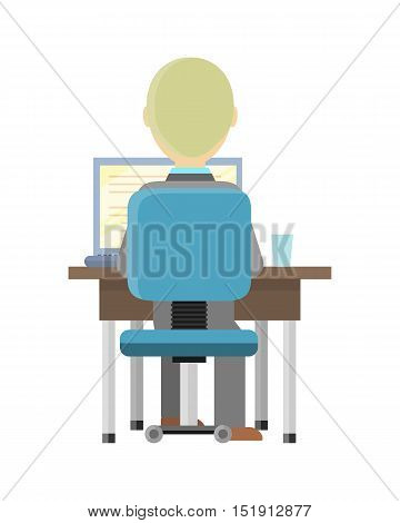 Blond man sitting at a desk and working on the computer, back view. Workplace, make money online, e-business, e-learning, concept. Man busy working on laptop computer. Vector illustration in flat.