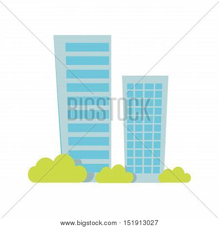 Modern apartment building. Architecture apartment icons, building residential, business multistory building, office building. Isolated object on white background. Vector illustration.