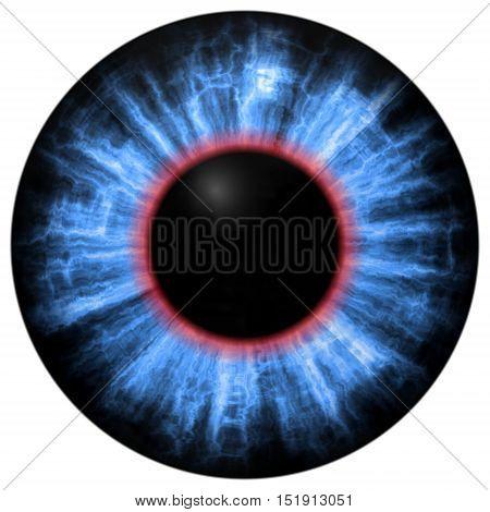 Illustration Of Blue Eye Iris, Light Reflection. Middle Size Of Eyes.