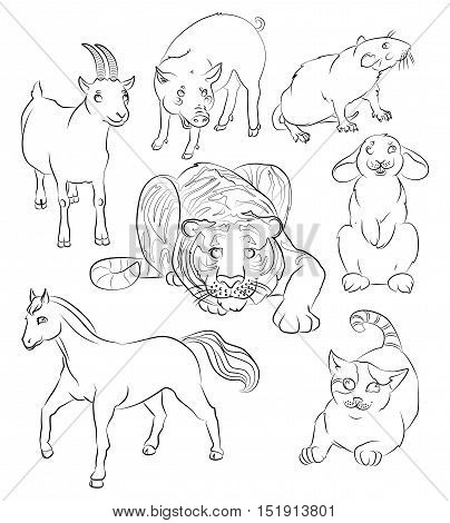 cat goat rat rabbit tiger horse and pig. For your convenience each significant element is in a separate layer. eps10