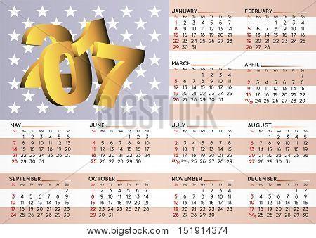2017 Calendar Usa Flag