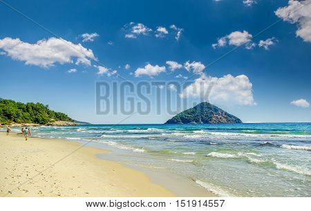 Beautiful Paradise beach, Thassos island, Greece. Probably the most beautiful Greek beaches.