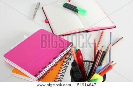 Notebook With Pencil And Bookmarks. Education Concept