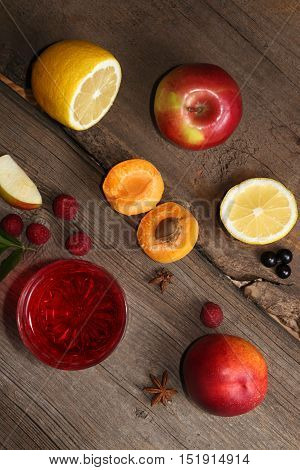 Glass Of Fruit Compot On Wooden Old Table