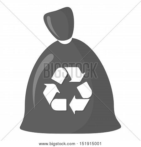Garbage bag monochrome icon. Illustration for web and mobile.