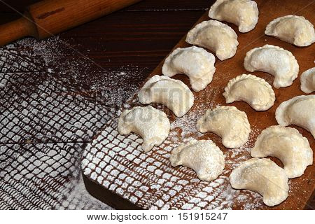 Homemade Pierogi Dumpling, Traditional East European Food Before Boiling.