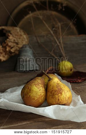 Autumn Still Life With Ripe Homegrown Pears From Rural Garden