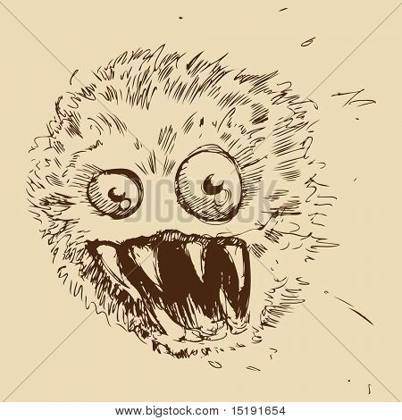 An image of a dust ball shaped monster.