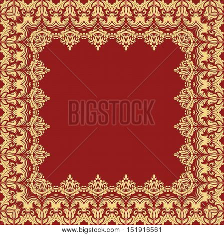 Classic vector square frame with arabesques and orient elements. Abstract fine red and golden ornament with place for text