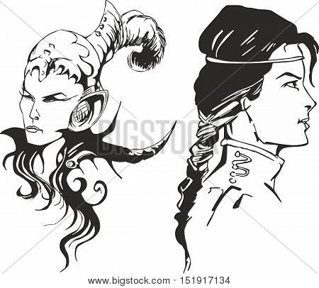 Fantasy set of two amazon women. Portraits of mythical lady warriors.