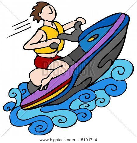 An image of a man riding a jet ski.