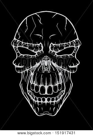 The image of the terrible skull. Vector illustration. Isolated on black, Line art sketch image