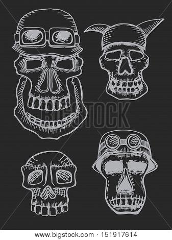 Set of Skulls, emblem motorcycle helmet and motorcycle glasses On the dark background. Symbol brutal biker subculture. Vector t-shirt design