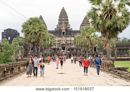 SIEM REAPCAMBODIA-OCT 14 : Tourist went out Angkor Wat October 14 2016 Siem ReapCambodia.