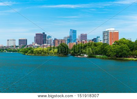 Boston, Massachusetts, USA: Boston downtown, view from Charles River and Back Bay