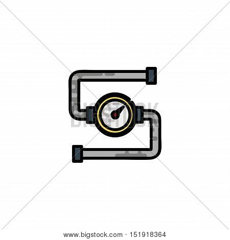 Water Pipes flat icon. Vector illustration, EPS 10