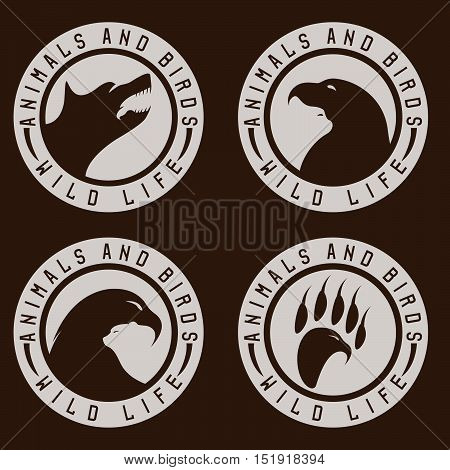 Vintage Labels With Animals And Birds Negative Space Concept