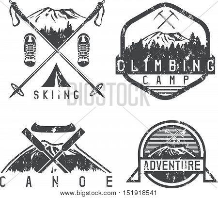 Skiing , Canoe And Adventure Camp Vintage Grunge Labels Set