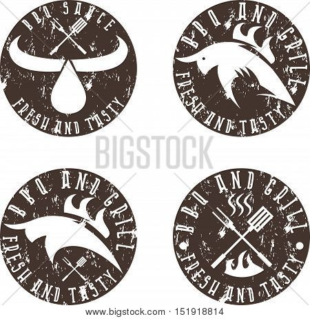 Vintage Grunge Labels Set Of Bbq And Grill
