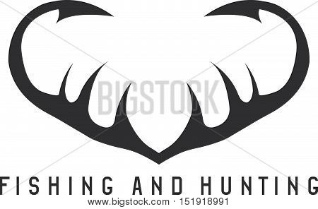 Fishing And Hunting Illustration With Deer Horns And Fishing Hooks