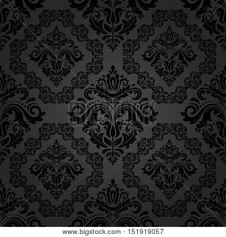 Seamless classic vector dark pattern. Traditional orient ornament