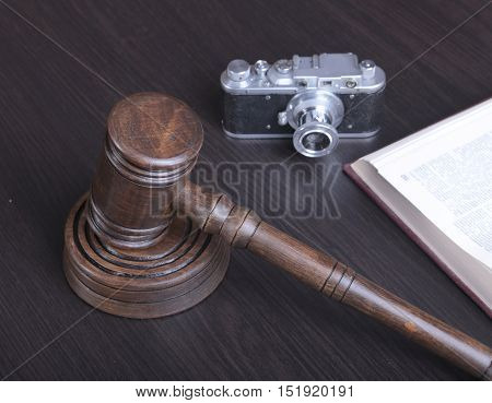 Auction Hammer , Symbol Of Authority And Vintage Camera