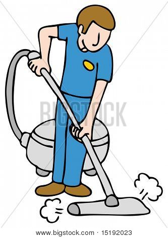 An image of a man using a carpet cleaning machine.