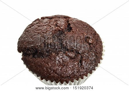Closeup Of A Chocolate Muffin Isolated Over White Background