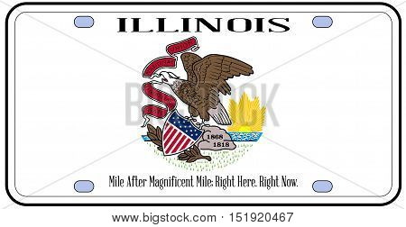 Illinois state license plate in the colors of the state flag with the flag icons over a white background