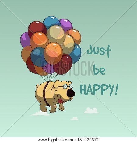 Funny cartoon dog flying with balloons design fo tee, postcard