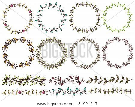 Set of hand drawn floral of wreaths the rustic style. Vector illustration