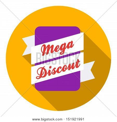 Mega discount icon in flat style isolated on white background. Label symbol vector illustration.