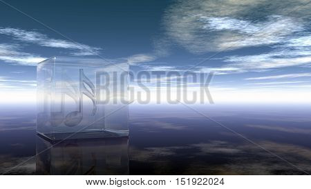 clef in glass cube under cloudy sky - 3d rendering