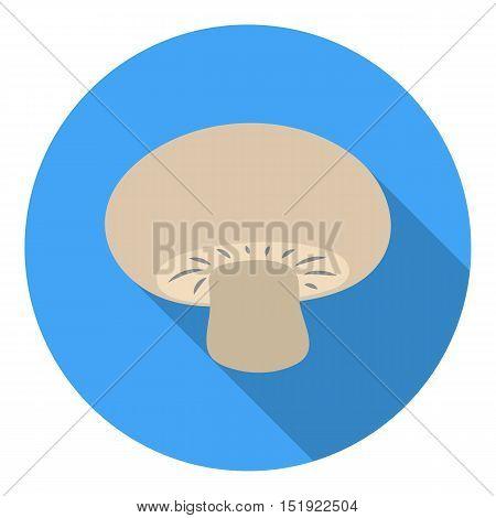 Champignon icon in flat style isolated on white background. Mushroom symbol vector illustration.